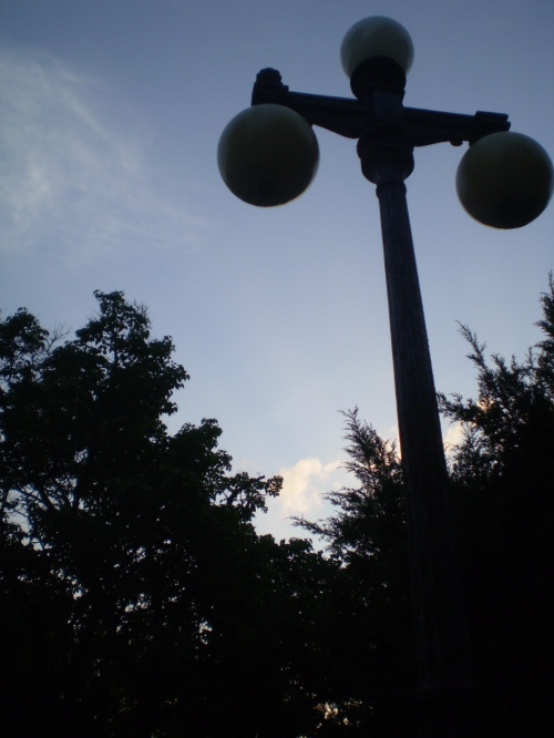A lamppost on Railroad Square.
